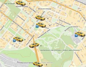 Отображение на карте всего автопарка