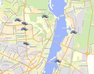 Отображение всех автомобилей парка на экране
